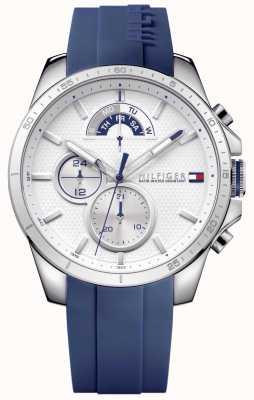 Tommy Hilfiger Chronographe homme blanc caoutchouc bleu 1791349