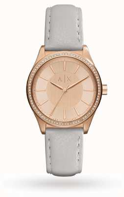 Armani Exchange Bracelet en cuir gris femme rose AX5444