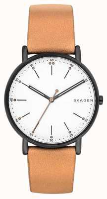 Skagen Hommes signatur bracelet en cuir marron clair cadran blanc SKW6352