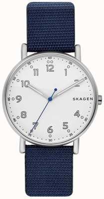 Skagen Cadran blanc pour homme avec bracelet bleu SKW6356