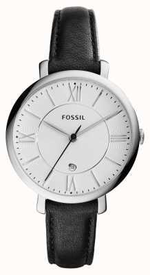 Fossil Womans jacqueline cadran argenté en cuir noir ES3972