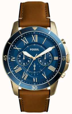 Fossil Mens subvention tan bracelet en cuir bleu chronographe FS5268