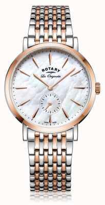 Rotary Womans suisse fait windsor mère deux tons de perle LB90191/41