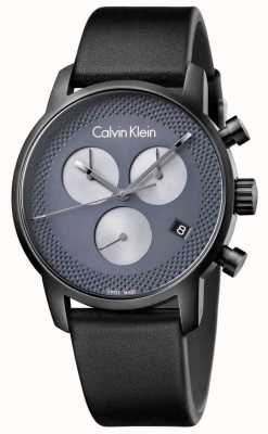 Calvin Klein ville Hommes cuir noir gris chrono K2G177C3