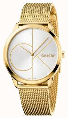 Calvin Klein Montre minimale homme | bracelet en acier inoxydable maille d'or | K3M21526