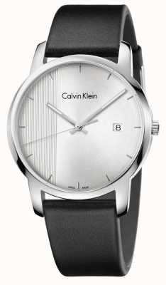 Calvin Klein cadran argenté en cuir noir de la ville pour hommes K2G2G1CX