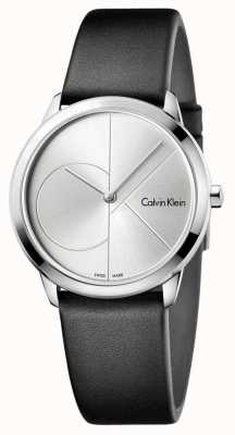 Calvin Klein Cadran argenté noir en cuir noir K3M221CY
