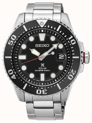 Seiko | prospex | solaire | plongeur | bracelet en métal | cadran noir | SNE437P1