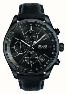Hugo Boss Mens grand prix chronographe bracelet en cuir noir cadran noir 1513474