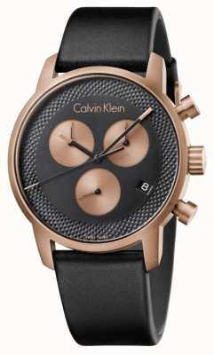Calvin Klein Mens ville chronographe cadran bleu en cuir noir K2G17TC1