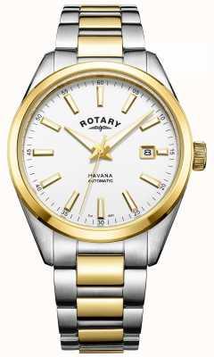 Rotary Mens havana automatique | bracelet en acier inoxydable deux tons | GB05078/02
