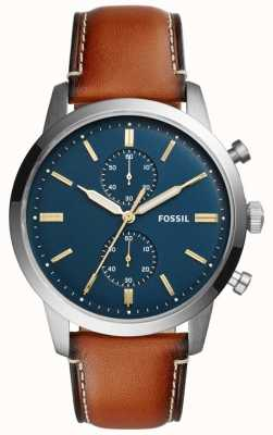 Fossil Homme chronographe townman cuir marron FS5279
