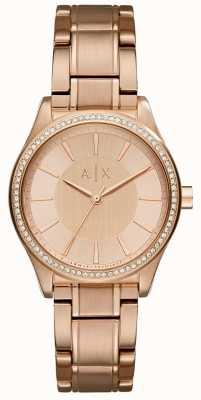 Armani Exchange acier Womans or rose montre habillée AX5442