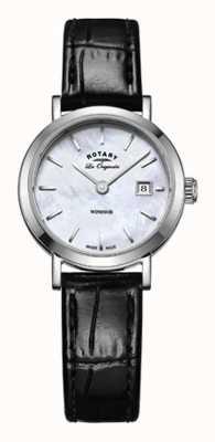 Rotary Femmes windsor bracelet en cuir noir cadran en nacre LS90153/41
