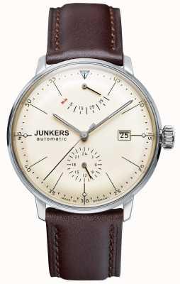Junkers Mens bracelet en cuir brun cadran beige bauhaus automatique 6060-5