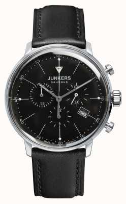 Junkers Mens bauhaus chronographe bracelet en cuir noir cadran noir 6088-2