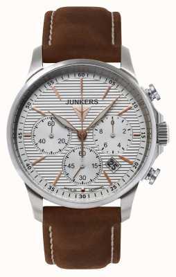 Junkers Mens tante ju Chronographe cuir brun cadran bracelet en argent 6878-4