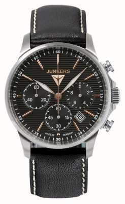 Junkers Mens tante ju chronographe bracelet en cuir noir cadran noir 6878-5