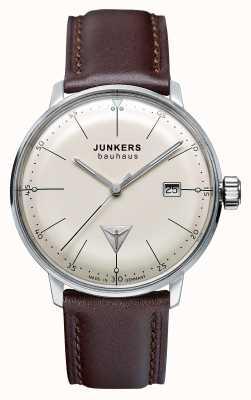 Junkers Mens bauhaus bracelet en cuir brun cadran beige 6070-5
