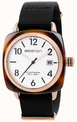 Briston Mens clubmaster classique bracelet en tissu noir cadran blanc 17240.PRA.T.2.NB