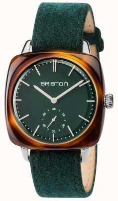 Briston Mens clubmaster vintage bracelet en tissu vert cadran vert 17440.SA.TV.16.LFBG