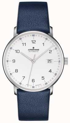 Junghans Former un bracelet bleu avec des chiffres en cuir de veau 027/4735.00