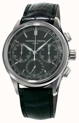 Frederique Constant Flyback chronographe fabrication bracelet en alligator noir FC-760DG4H6