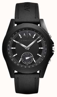 Armani Exchange Bracelet en silicone noir avec connexion intelligente connectée AXT1001