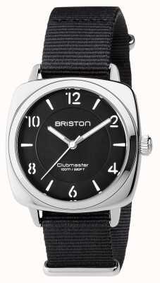 Briston Clubmaster chic noir en acier noir avec bracelet en nato 17536.S.L.1.NB