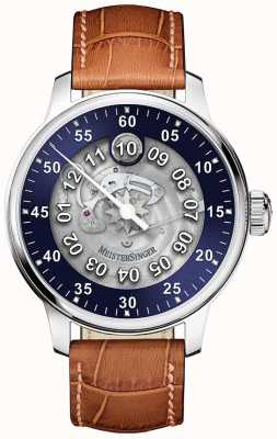 MeisterSinger Mens classic plus salthora méta transparent automatique bleu SAM908TR