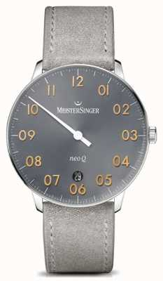 MeisterSinger Forme et style masculins neo q quarz sunburst moyen gris NQ907GN
