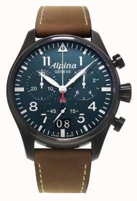 Alpina Startimer Pilot cuir marron / boîtier PVD noir AL-372N4FBS6