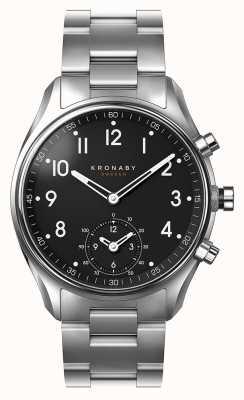 Kronaby 43mm apex bluetooth en acier inoxydable cadran noir smartwatch A1000-1426