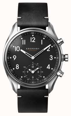 Kronaby Bracelet cuir noir bluetooth apex de 43 mm a1000-1399 S1399/1