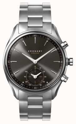 Kronaby 43mm sekel bluetooth cadran noir en acier inoxydable smartwatch A1000-0720
