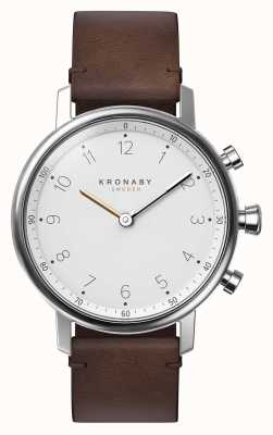 Kronaby 38mm nord bluetooth bracelet en cuir marron smartwatch A1000-0711