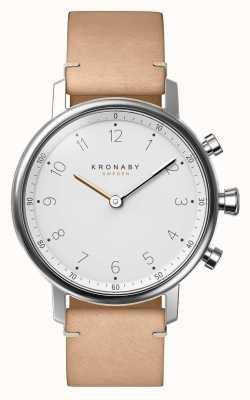 Kronaby 38mm nord bluetooth bracelet en cuir beige smartwatch A1000-0712