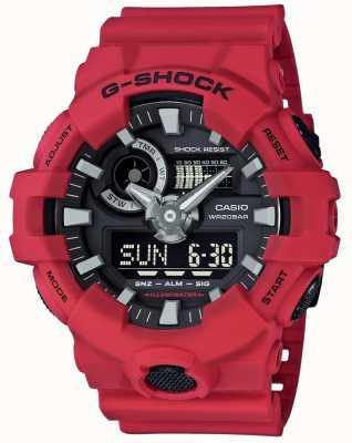 Casio Chronographe d'alarme rouge pour homme G-Shock GA-700-4AER