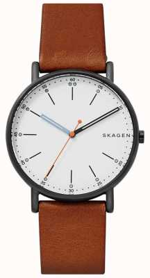 Skagen Mens signatur bracelet en cuir marron blanc cadran SKW6374