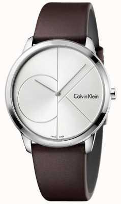 Calvin Klein Bracelet en cuir marron minimal pour homme cadran argenté K3M211G6
