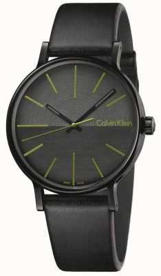 Calvin Klein Les hommes augmentent les indices verts en cuir noir K7Y214CL