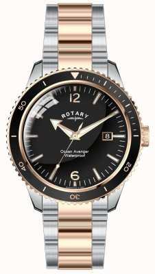 Rotary Mens océan avenger deux tons cadran noir GB02695/04