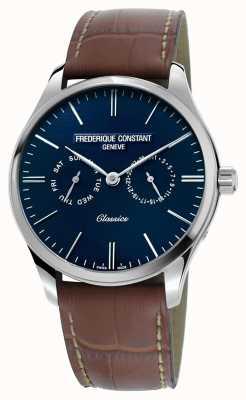 Frederique Constant Hommes classiques à quartz bracelet en cuir marron cadran bleu FC-259NT5B6