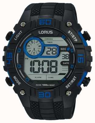Lorus Montre numérique pour hommes noir et bleu R2353LX9