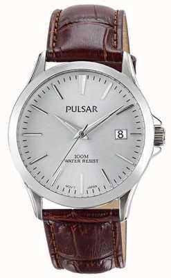 Pulsar Bracelet cuir en alligator brun pour homme PS9455X1