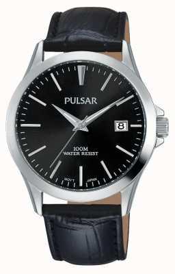 Pulsar Bracelet en cuir noir alligator modèle PS9457X1