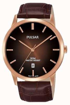 Pulsar Bracelet en cuir marron pour homme PS9534X1