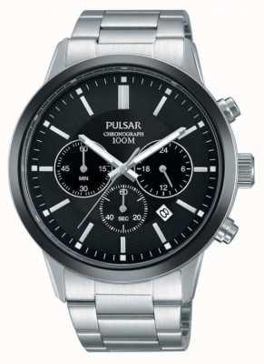 Pulsar Cadran noir chronographe noir en acier inoxydable PT3747X1