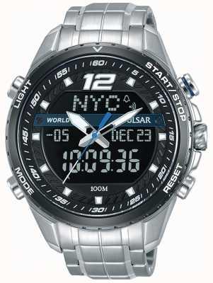 Pulsar Hommes analogique numérique noir cadran argent métal bracelet PZ4027X1
