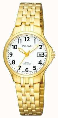 Pulsar Bracelet en acier inoxydable plaqué or en cuir blanc Womans PH7224X1